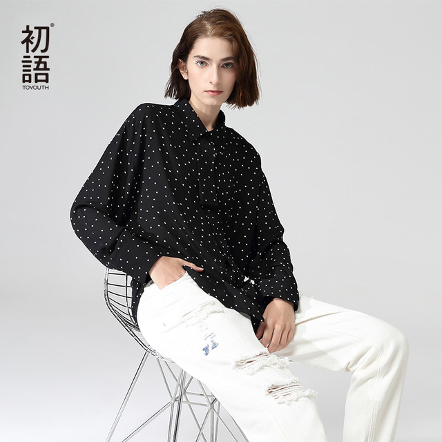 Toyouth Fashion Women Polka Dot Blouses And Shirts Autumn Casual Turn Down Collar Long Sleeve Chiffon Blouse