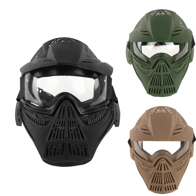 Tactical Outdoor Lens Mask Full Face Breathable CS Hunting Military Army  Protection Masks Paintball Accessories