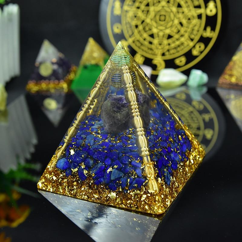 Aura Orgon Energy Pyramid Chakras Stone Orgonite Amethyst Crystals Lapis Lazuli Home Office Decor Resin Reiki Gift