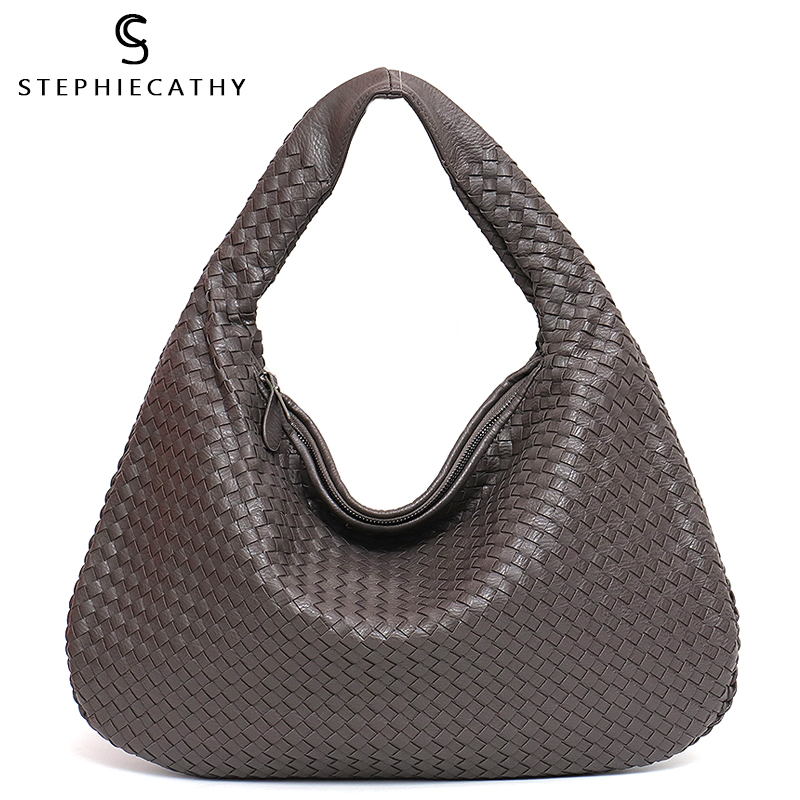 SC Brand New Vegan Leather Hobo Bag Handmade Woven Casual Female Handbag Big Capacity Patchwork Zipper Women Shoulder Bags