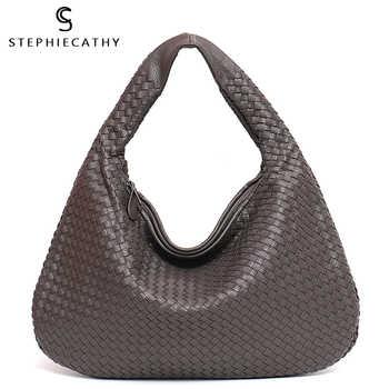 SC Brand New Vegan Leather Hobo Bag Handmade Woven Casual Female Handbag Big Capacity Patchwork Zipper Women Shoulder Bags - DISCOUNT ITEM  40% OFF All Category