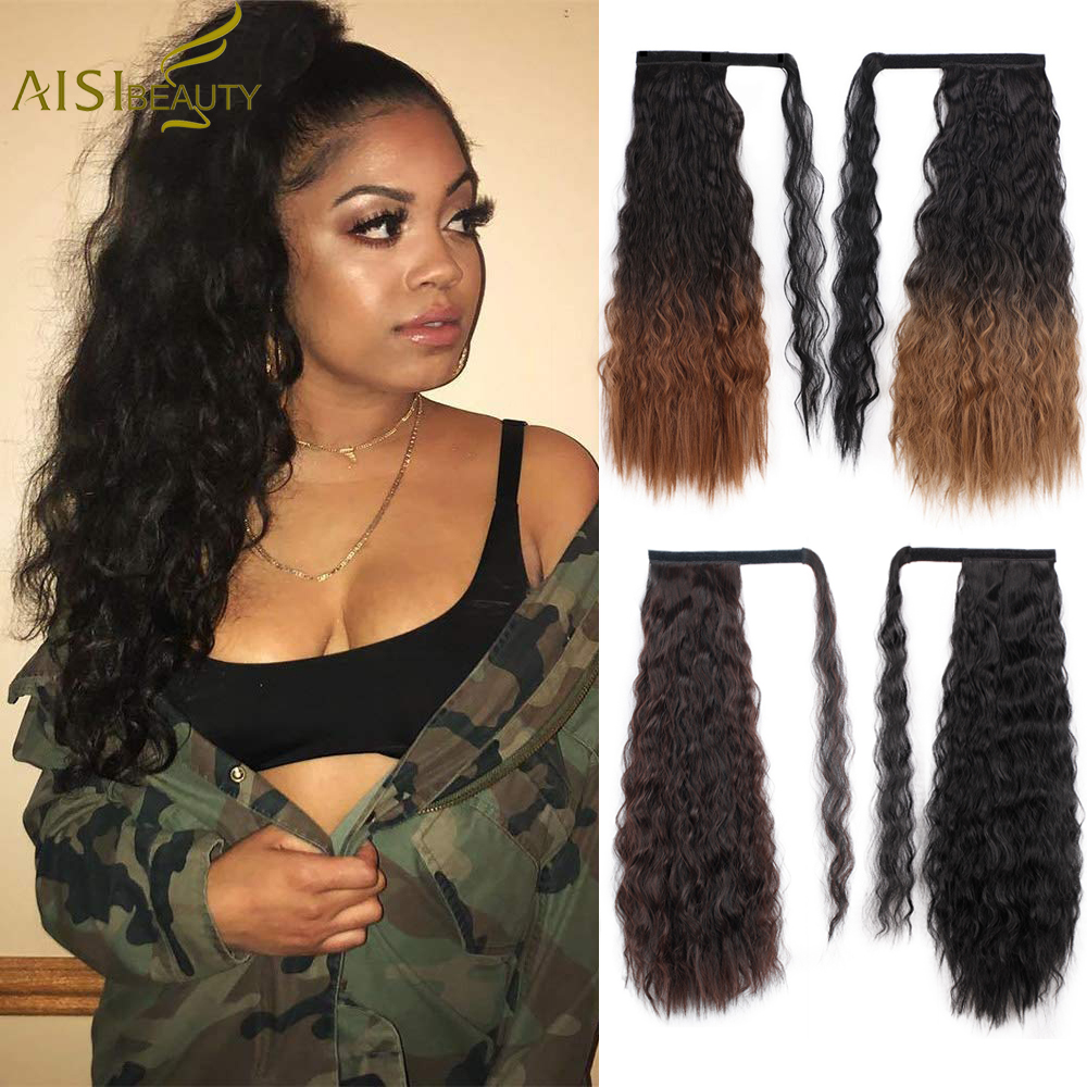 AISI BEAUTY Kinky Straight Clip In Ponytail Extension Synthetic High Temperature  Wrap Around Magic Paste Ponytail Hairpiece