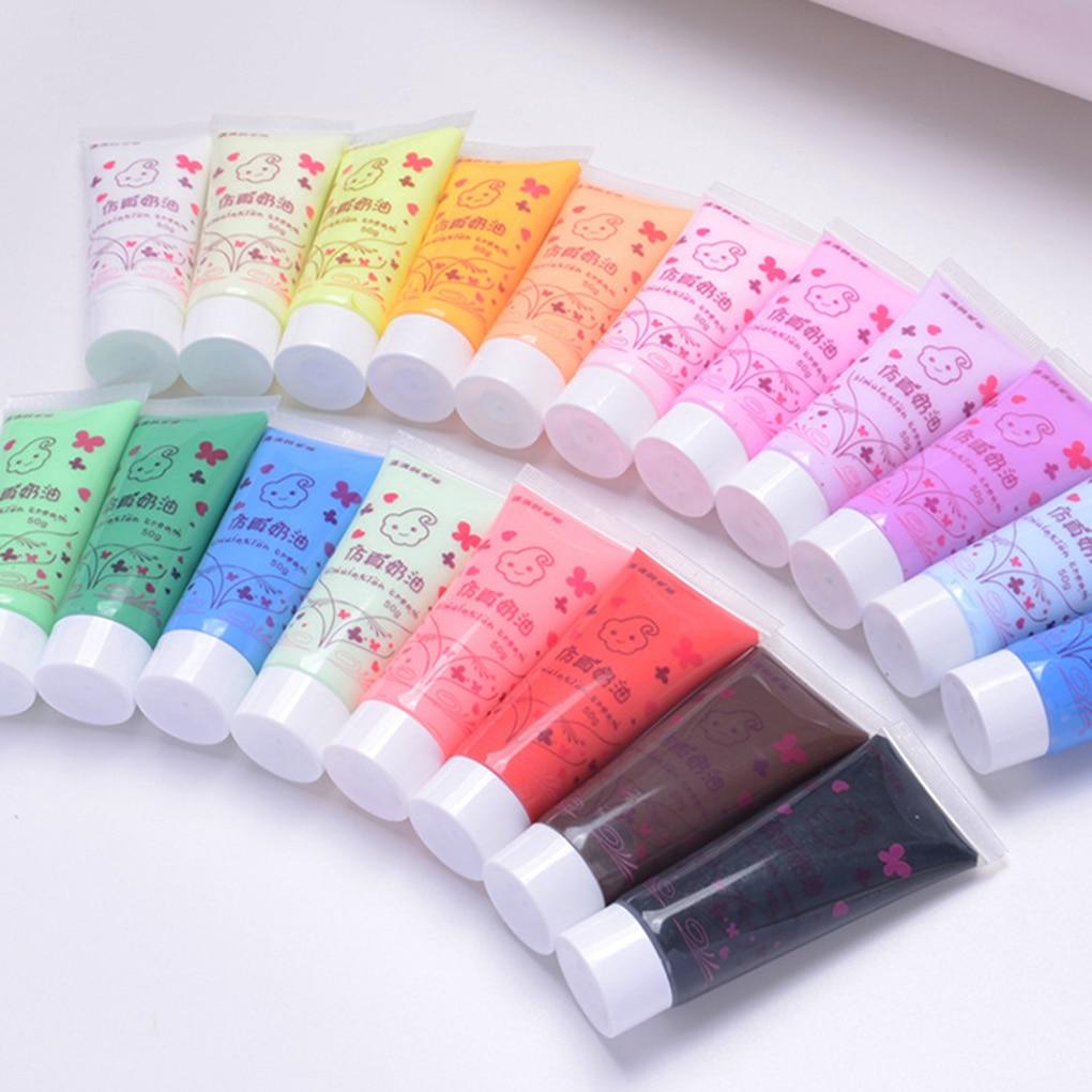 Simulation Cream Gel 50ml24 Color Optional Antifreeze Mobile Shell Beauty DIY Cream Glue Nail Soft  Clay Decoration