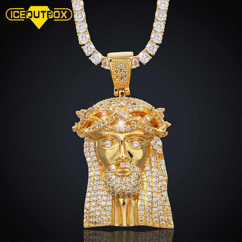 New Gold Silver Solid Jesus Piece Pendant Necklace With Tennis Chain Iced Out Cubic Zircon For Men's Women Hip Hop Jewelry