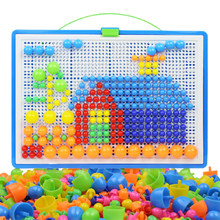 296 pçs cogumelo prego diy brinquedos artesanais toyschildren educativo das crianças inteligente 3d puzzle jogo de tabuleiro presentes