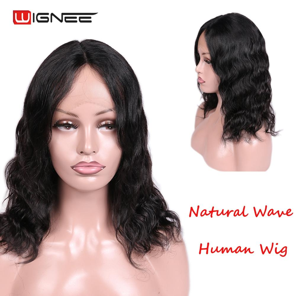Wignee Lace Part Natural Wave Human Wigs For Africa Americans High Density Glueless Remy Brazilian Black Human Hair Women Wigs