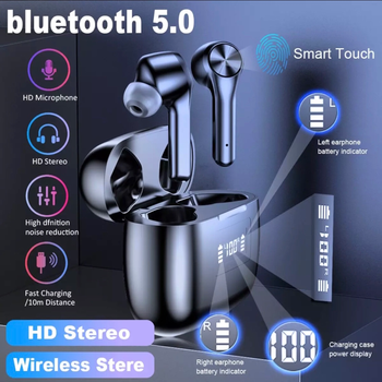 Bluetooth 5.0 Wireless Earphone TWS Headphones in-Ear Deep Bass Earbuds Built-in Mic Headset with Smart Touch Control 3D Stereo bluedio original t2 bluetooth wireless foldable headphones built in mic bt4 1 3d sound headset for cell phone xiaomi samsung