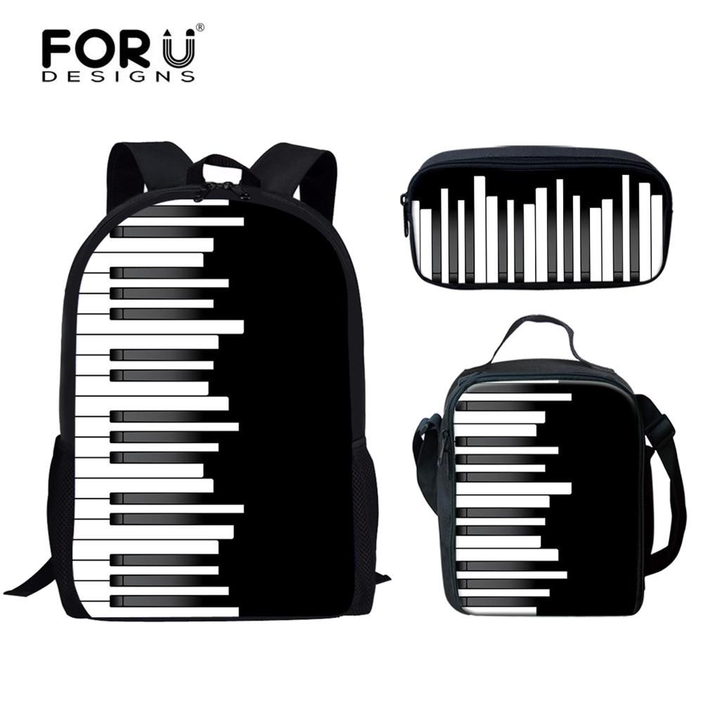 FORUDESIGNS 3D Piano Keys Fashion Black School Bags Kids 2020 Canvas Set Children Bookbags Large Girls Boys School Bag Mochilas