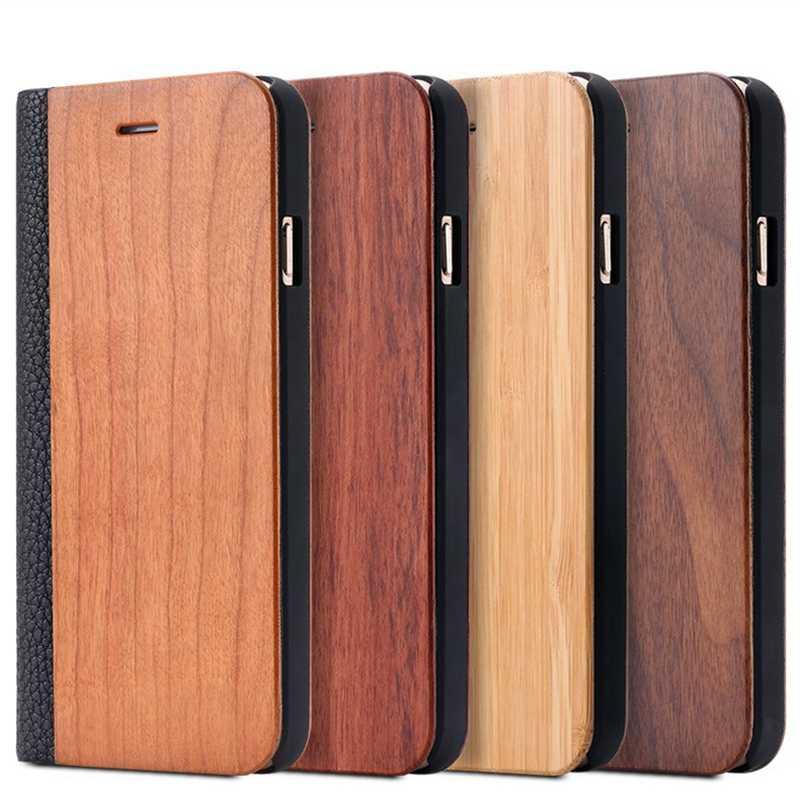 ไม้ไผ่กรณีไม้ธรรมชาติสำหรับ iPhone 11 PRO MAX X XS XR 8 7 6 6S PLUS Redmi หมายเหตุ 8Pro Flip สำหรับ Samsung S10 S9 S8 S7