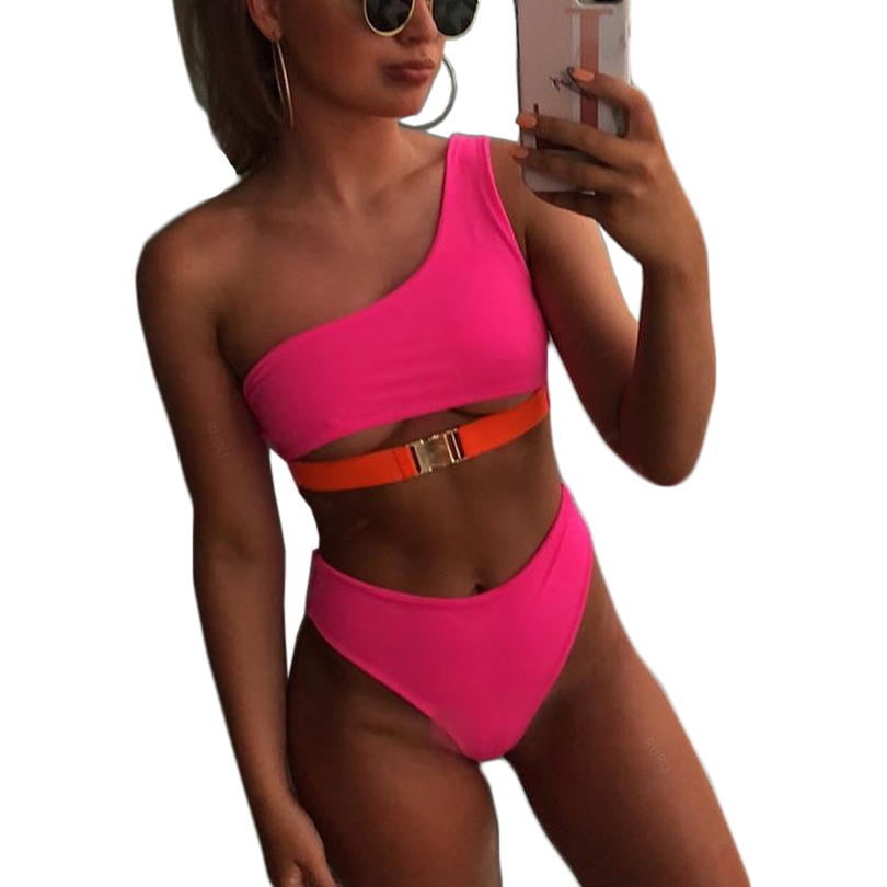 Hot Pink One Shoulder Bikini Push Up Swimsuits For Women High Waist Bathing Suits Two-pieces Swimwear Female Swim Suit