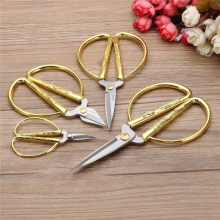 4 Size Stainless Steel Gold Sewing Scissors Short Cutter Durable High Steel Vintage Tailor Scissors for Fabric Craft Household,B