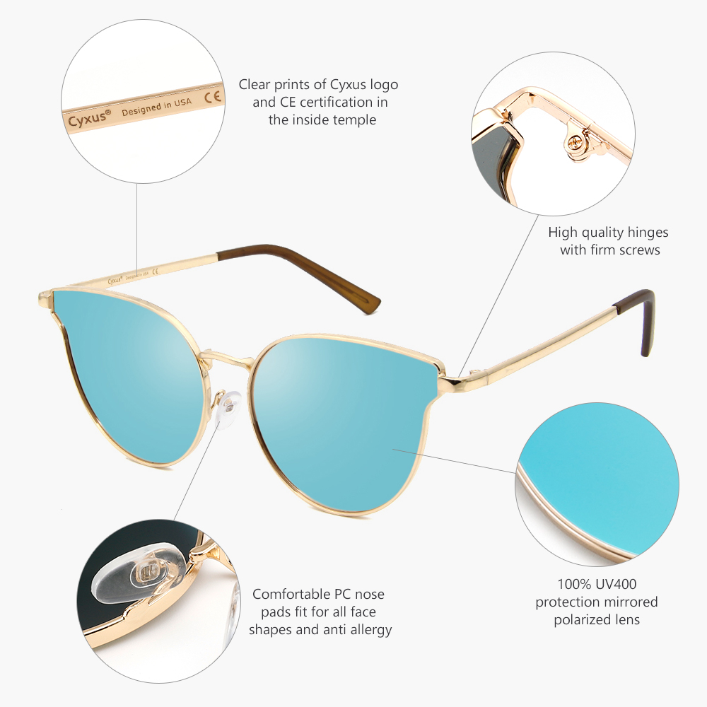 Cyxus Cat Eyes Polarized Sunglasses for Women UV400 Metal Frame Vintage Retro Eyewear for Girls 1817