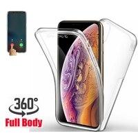 Funda de silicona doble para iphone, carcasa protectora de TPU 360 para iphone SE 6, 7, 8 plus, 13, 12 mini, 11 pro, X, XR, XS, MAX