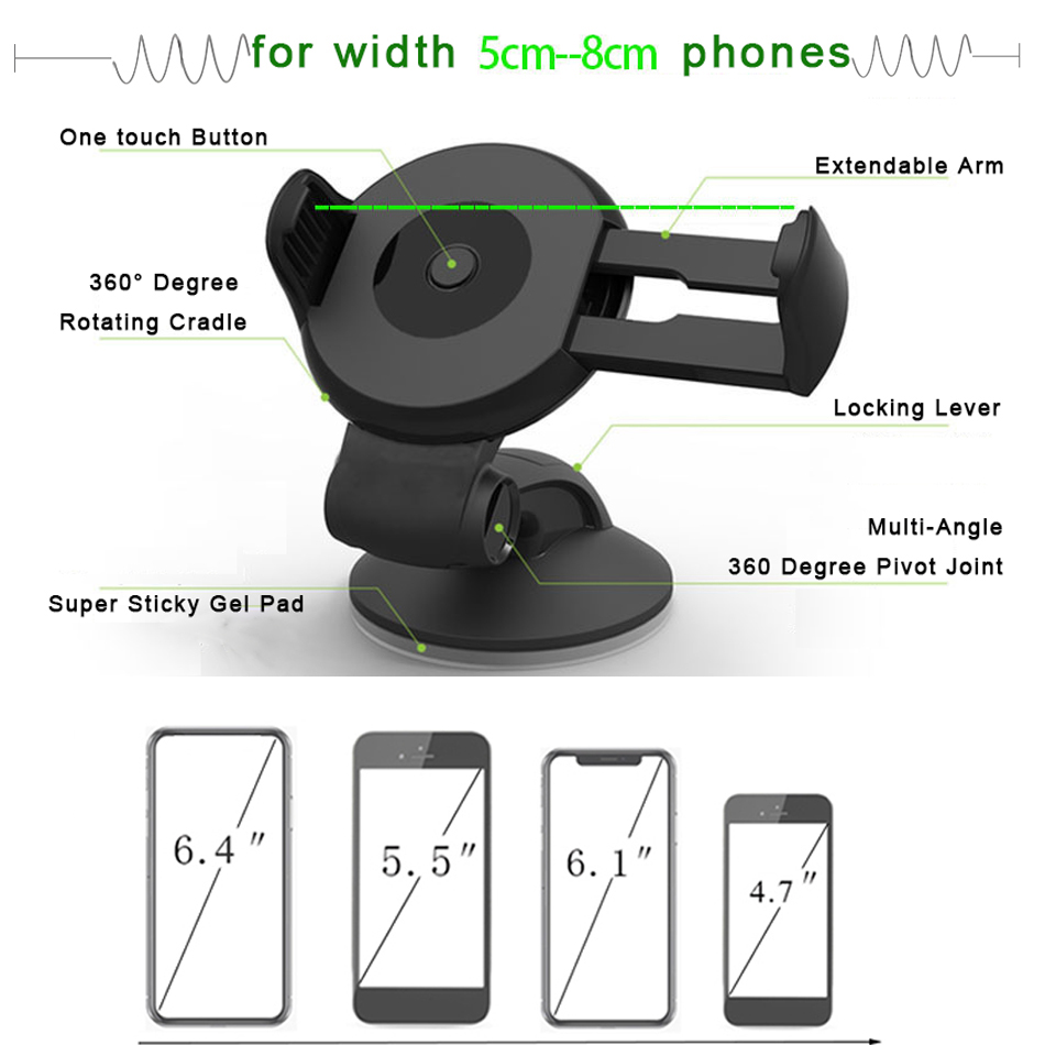 Image 3 - Suporte Porta Celular For Samsung iPhone Huawei Telefon Cell Soporte Movil Auto Mobile Phone Stand Car Holder Smartphone Voiture-in Phone Holders & Stands from Cellphones & Telecommunications