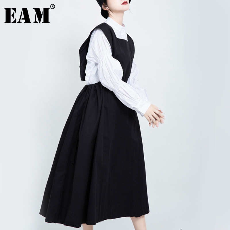 [EAM] Women Black Drawstring Both Side Wear Dress New Round Neck Sleeveless Loose Fit Fashion Tide Spring Autumn 2020 1K182