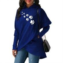 Split Hoodies For Women Dog Paw Letters Print Kawaii Tops Sweatshirts Girls Harajuku 2018 Autumn Plus Size