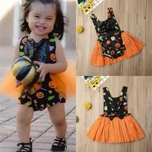 Baby Girl Clothes Kids Clothing Sets Tulle Romper Tutu Dress Black Orange Halloween Costume For 0-24 Months Baby Girls цена 2017