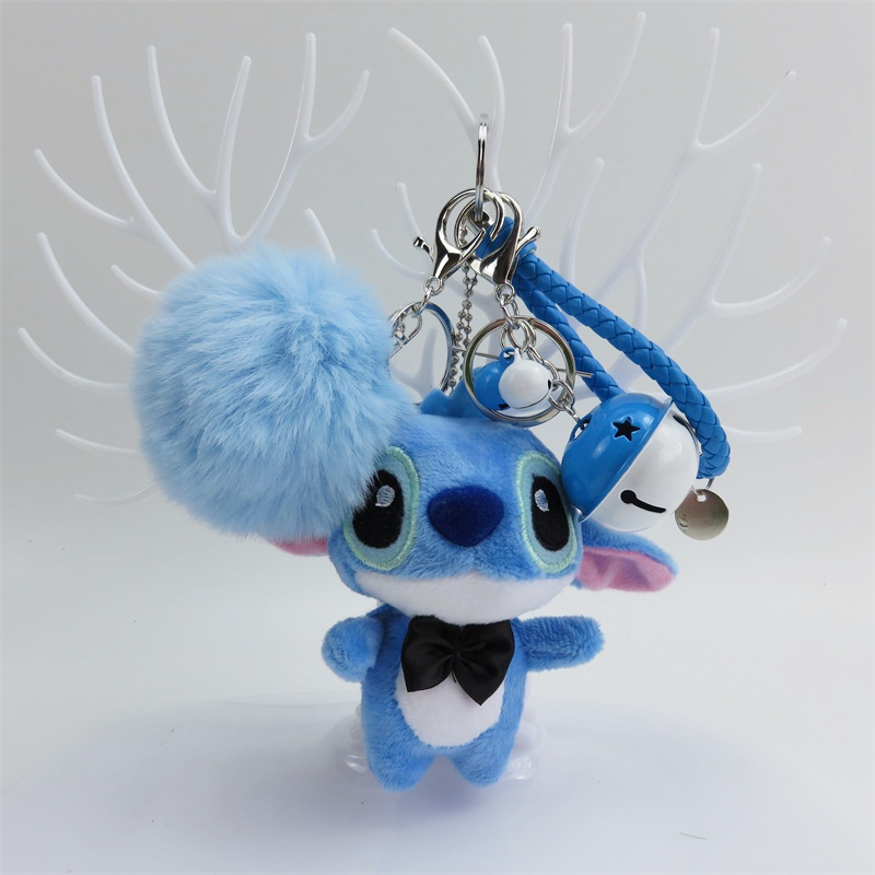 Cartoon Stitch Bear Plush Toys Small Pendant Key Chains Soft Stuffed Dolls Creative Valentine's Day Christmas Birthday Gifts
