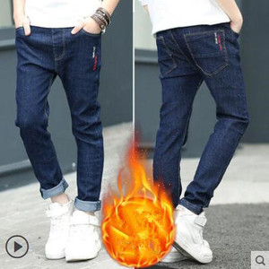 Image 4 - 2020 winter kinder kleidung jungen jeans beiläufige dünne verdicken fleece denim baby jungen jeans für jungen große kinder jean lange hosen
