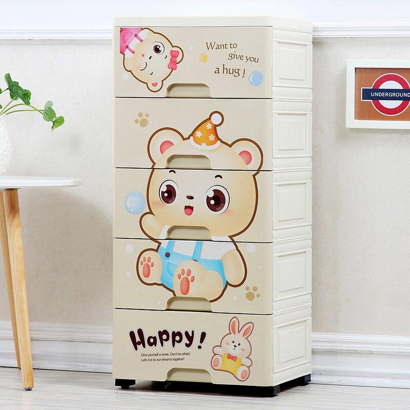 Mobilya'ten Çocuk Dolapları'de Karikatür çocuk dolap çekmece makbuz dolabı saklama kutusu plastik bebek dolabı bebek karikatür iç çamaşırı plastik dolap title=