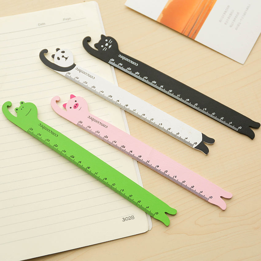 Cute Cartoon Wooden Straight Ruler Students Stationery Animals Shape 15cm Rulers Drawing Learning Supplies Panda Cat Frog