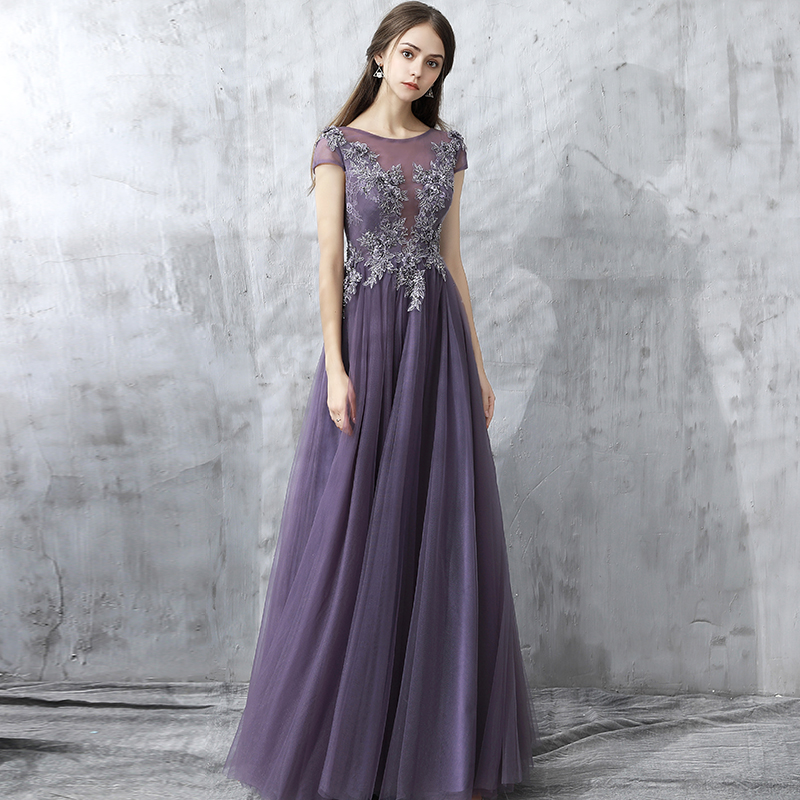 Scoop Neck Cap Sleeve Evening Dresses For Women Purple Tulle A Line Formal Evening Gown Lace Appliques Beaded Occasion Dresses