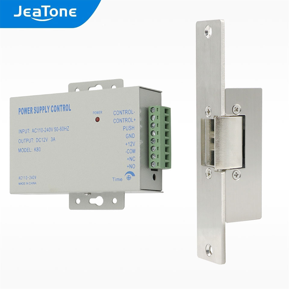 Jeatone Electric Lock Narrow Type Electric Door Lock with Power Supply Control for different Door NC Mode Fail Safe Access