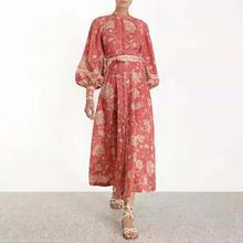 Banulin Womens Runway Dress Luxury Printed Stand Collar Buttons Long Blet Dresses Designer Autumn Lantern Sleeves Vestido
