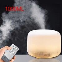 1000ML difusor de Aroma de aire humidificador ultrasónico casa aromaterapia eléctrica difusor de Aroma de aceite esencial de 7 colores de luz LED