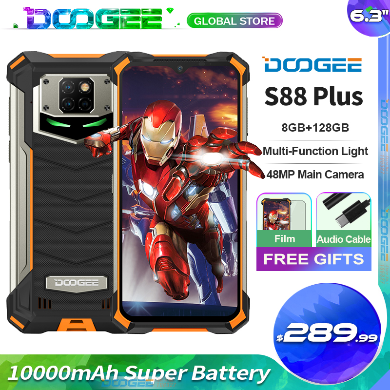 Doogee S88 плюс прочный мобильный телефон 48MP основной Камера 10000 мА/ч, супер Батарея 8 + 128GB Android 10 IP68/IP69K глобальная версия чехол для телефона