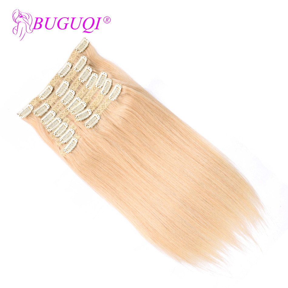 BUGUQI Hair Human-Hair-Extensions Clip-In 16-26inch Remy Peruvian 100g-Machine -613 title=