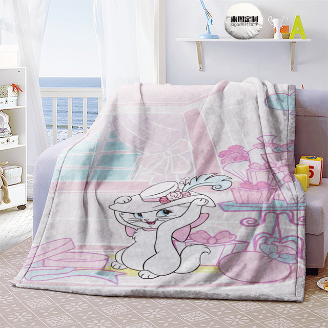 Disney Marie Cat Anime Figures Cartoon Product Cosplay Accessories Customized Blanket Warm Home Bed Unisex Gifts 4