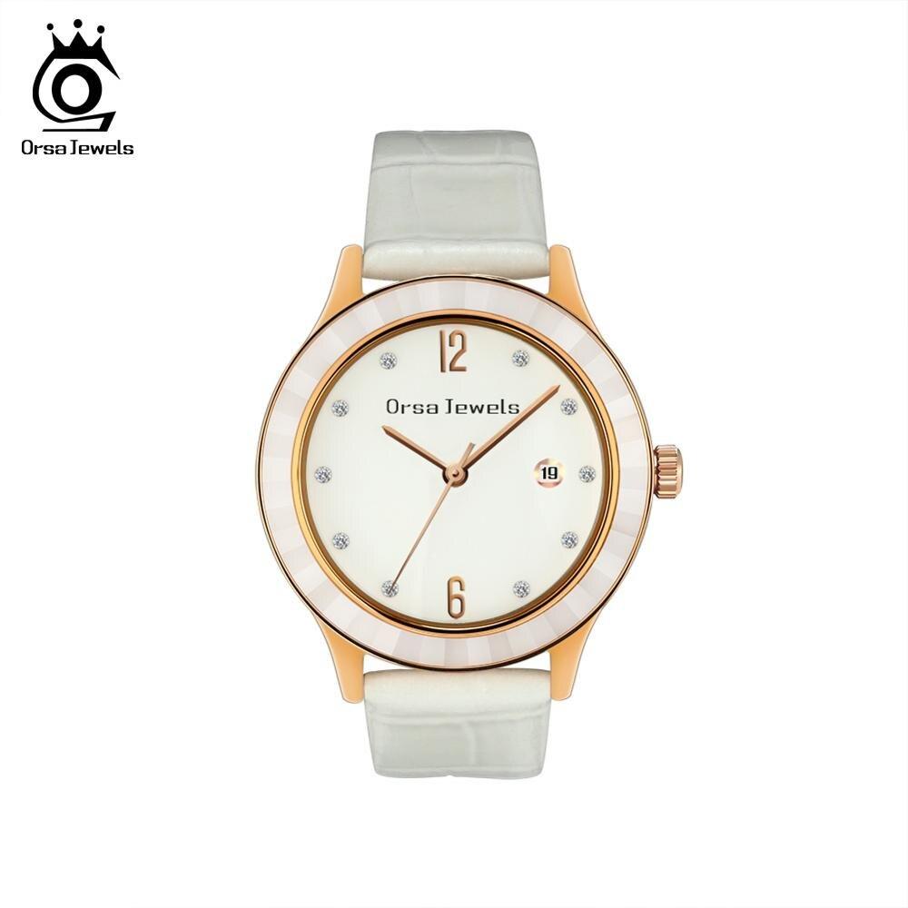 ORSA JEWELS Women Wristwatches Brand Famous Quartz Clock Genuine Leather Shiny Rhinestone Girl Watch Party Gift Jewelry OW08