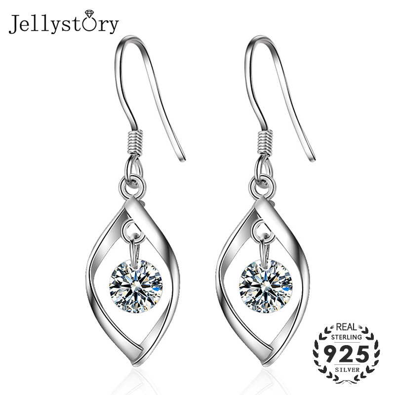 Jellystory Drop Earrings For Women Fashion Jewelry 925 Silver Earring With Cubic Zironia Gemstones Party Wedding Wholesale Gifts