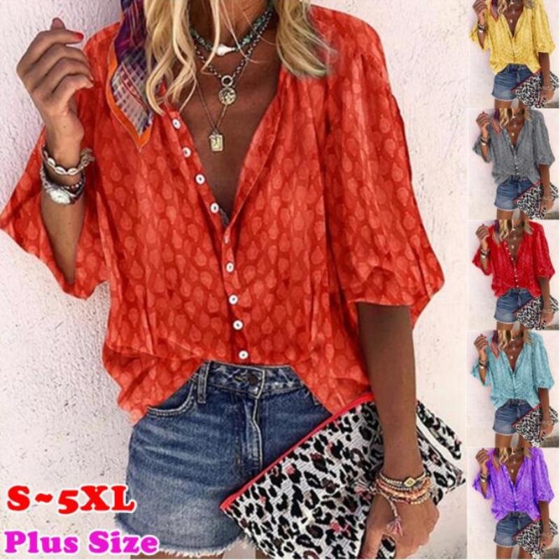 Plus Size 5XL Women Casual Blouses Spring Chiffon V Neck Long Sleeve Shirt Fashion Point Print Loose Shirt Top