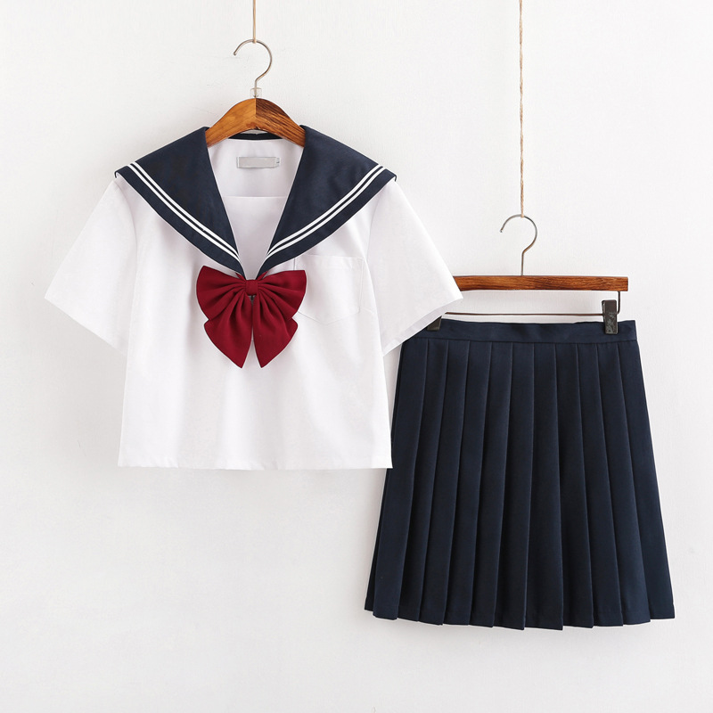 New Summer Short/long Sleeve Uniforms Japanese School Dress Uniform Women Girls Black White Sailors Suit Pleated Skirt Sets