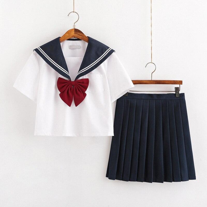 New Summer Short/long Sleeve Uniforms Japanese School Dress Uniform Women Girls Navy Blue Sailors Suit Pleated Skirt Sets