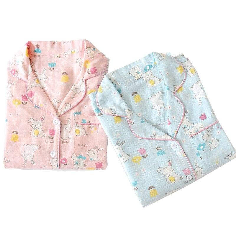 Ladies Sweet Sleepwear Set Comfort Pajamas Sets Cute Cartoon Rabbit Printed Turn-down Collar Clothes +Pants Homewear For Autumn
