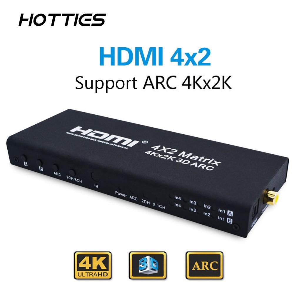 4x2 HDMI Matrix HDMI Switch Switcher HDMI Splitter Support ARC 4Kx2K Splitter Hub Box For PS3 For Xbox 360 EU Plug Type