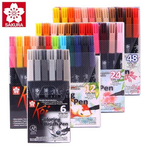 sakura koi 24 48 cor macio cabeca aquarela a base de agua caneta conjunto de