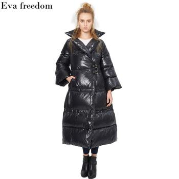 Winter Plus size thicker warm 90% white duck down coat female oversize Speaker sleeve longer warm fashion brand down coat wj1586