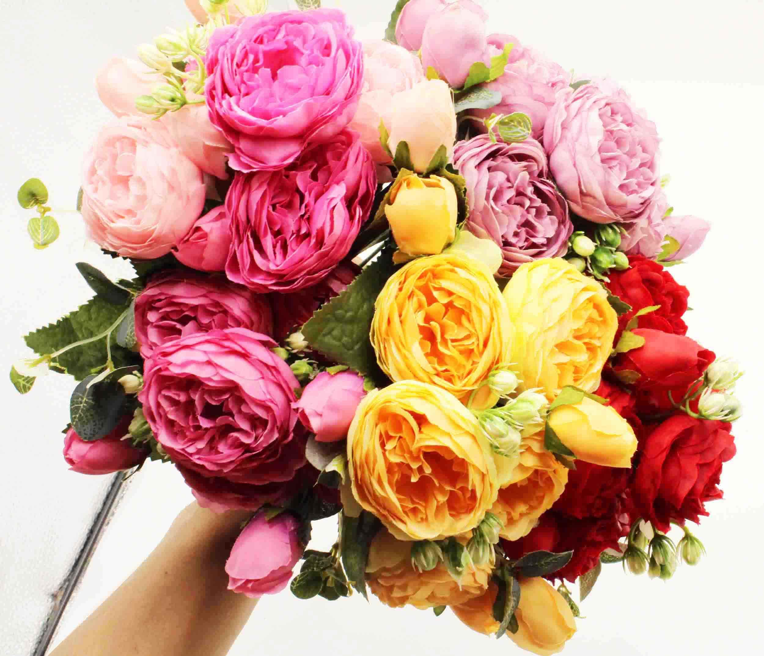 Popular ramo de peonía de seda artificial rosa de 30 cm, 5 cabezas grandes y 4 brotes de flores falsas para la decoración de la boda familiar en interiores