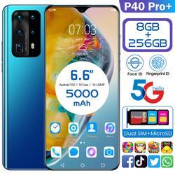 Téléphones mobiles mondiaux 6.6 P40pro réseau livraison gratuite 8GB RAM 256GB ROM Octa Core 4 caméra Snapdragon 855 2020 5G téléphone Samsun