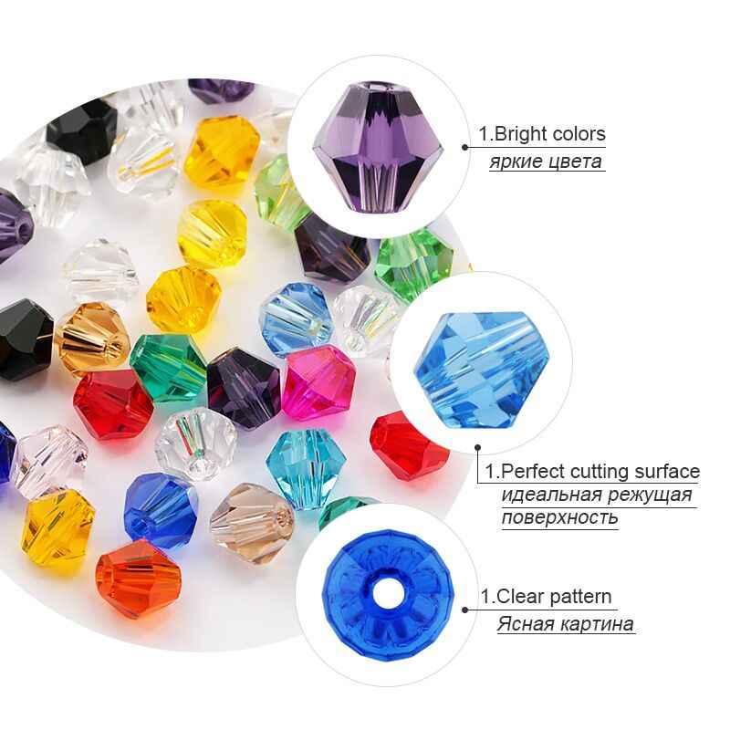 600pcs סיטונאי 4mm זכוכית Bicone חרוזים קריסטל חרוזים פיאות אוסטריה 5238 חרוז רקמת עבור תכשיטי ביצוע הנמכר ביותר צבע