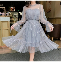 Spring Autumn New Female O-neck Stars Sequined Mesh Shiny Fairy Dress Women Elegant Bling Gauze Princess Puff Dresses