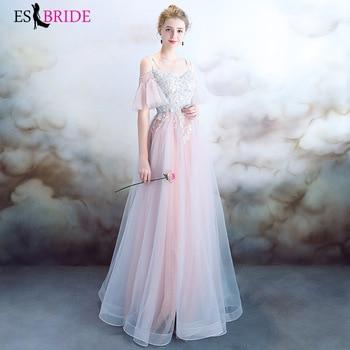 Elegant Evening Dress champagne Lace Pink Blue Tulle Prom Dress Long Evening Gowns Vestido de Festa ES30146