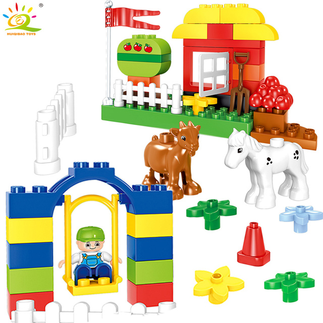 HUIQIBAO 50pcs Juniors DIY Farm Animals Big Size Building Blocks Compatible Duploed large Bricks Baseplate Toys For Children
