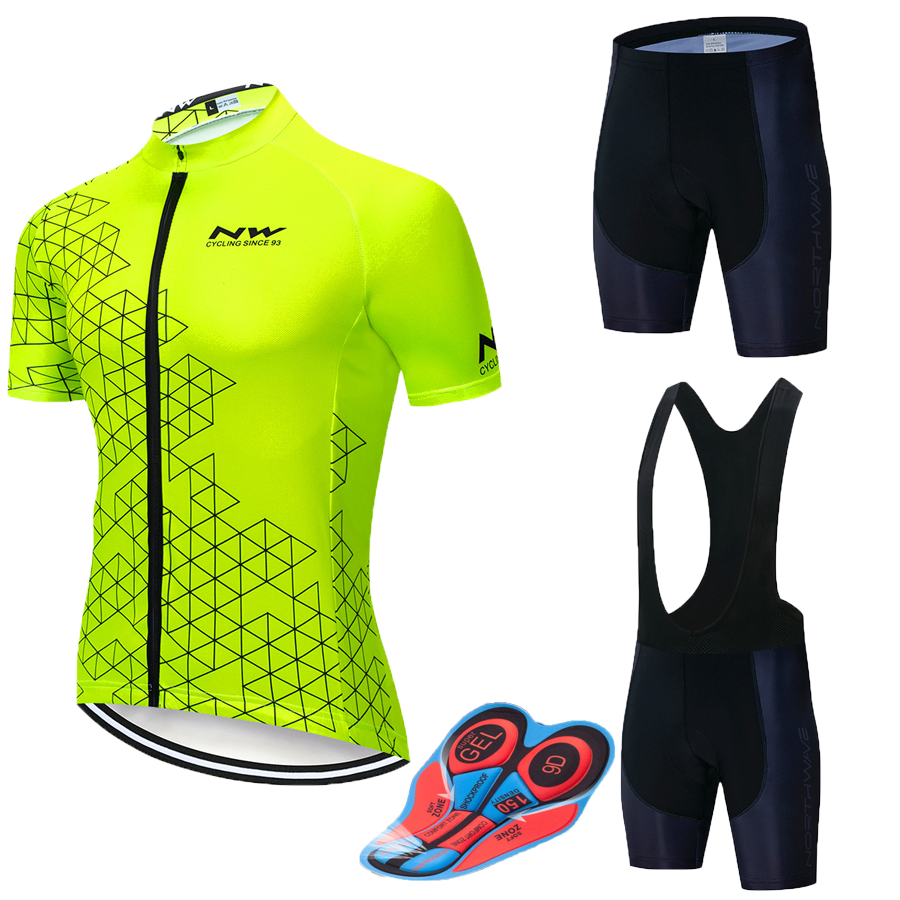 <font><b>NW</b></font> <font><b>2019</b></font> <font><b>NORTHWAVE</b></font> Summer Men Cycling Jersey Short Sleeve Set Breathable bib shorts Bicycle Clothes Gel Pad Clothing image
