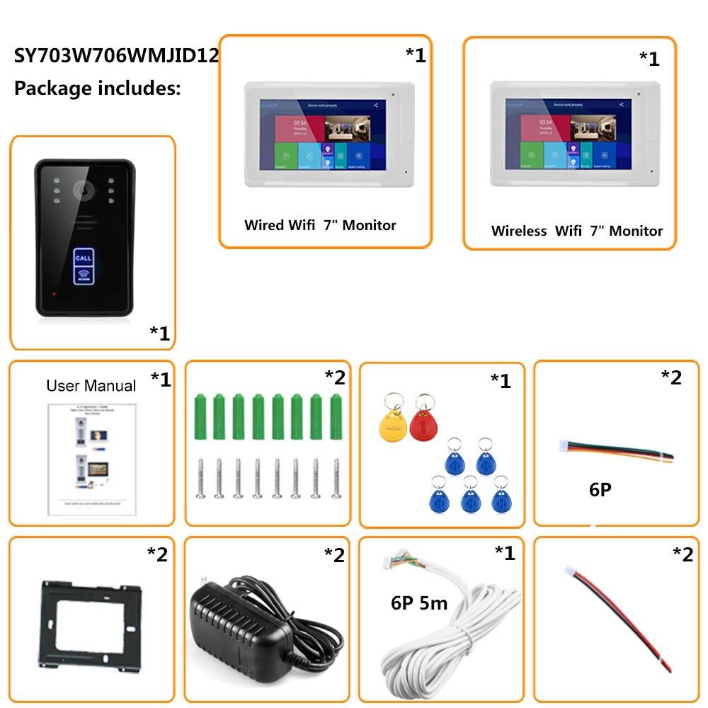 2 monitores 7 pulgadas inalámbrico Wifi RFID Video puerta teléfono timbre intercomunicador sistema de entrada con IR CUT con cable 1080P cámara con cable - 6