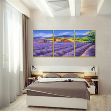 Laeacco Canvas Paintings Calligraphy 3 Panel Garden Posters and Prints Purple Flower Modern Wall Artwork Home Living Room Decor